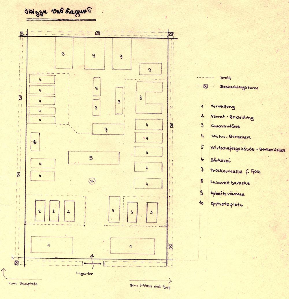 Skizze des Lagers Potulice